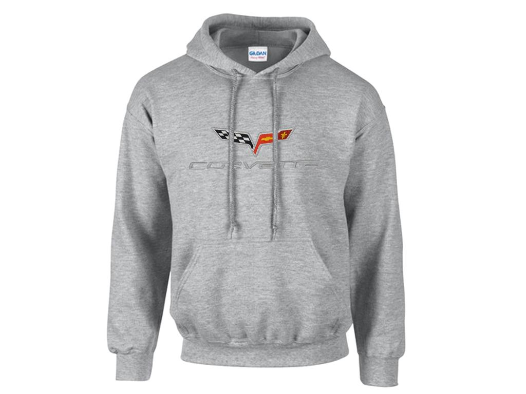Corvette C5 Emblem Hoodie//Hooded Sweatshirt Gray