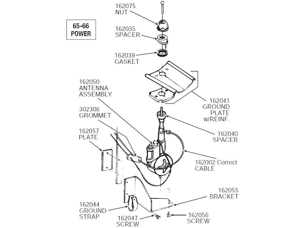 65 66 power antenna with hardware reproduction corvette central 1965 Corvette Water Pump 162050 c2 162050