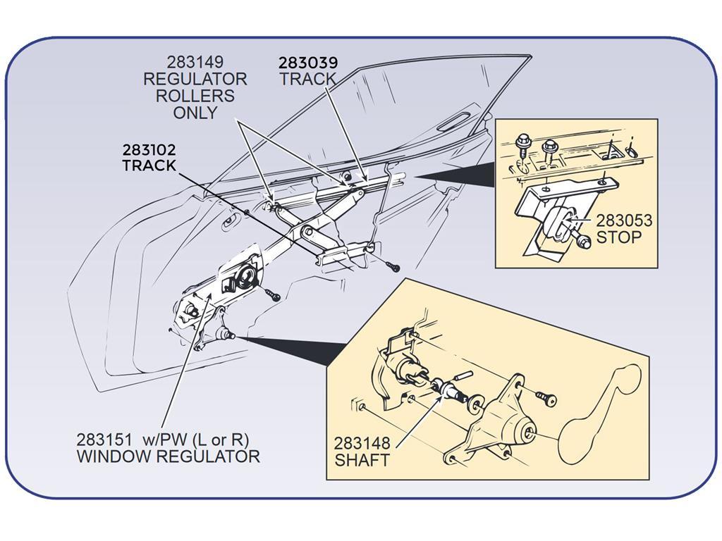 68 82 Left Window Regulator With Power Window Less Motor Usa Corvette Central