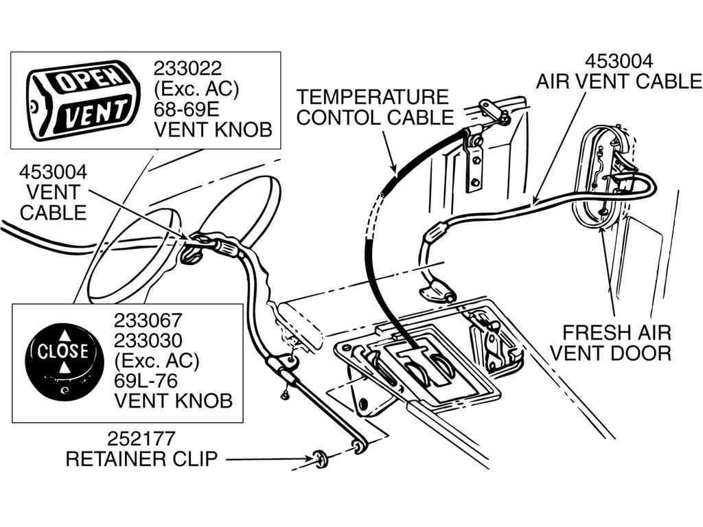 68 76 Air Vent Control Cable Except Air Conditioning