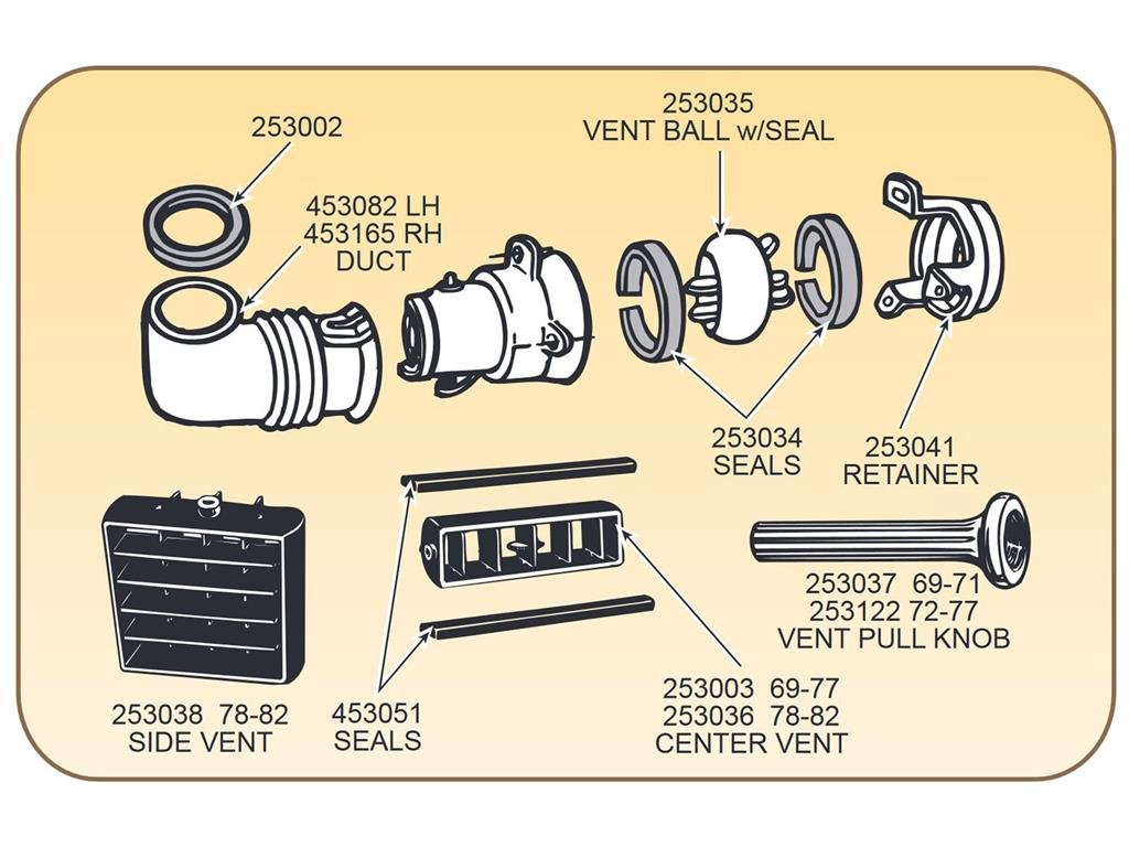 69 77 left hand under dash air vent side outlet duct. Black Bedroom Furniture Sets. Home Design Ideas