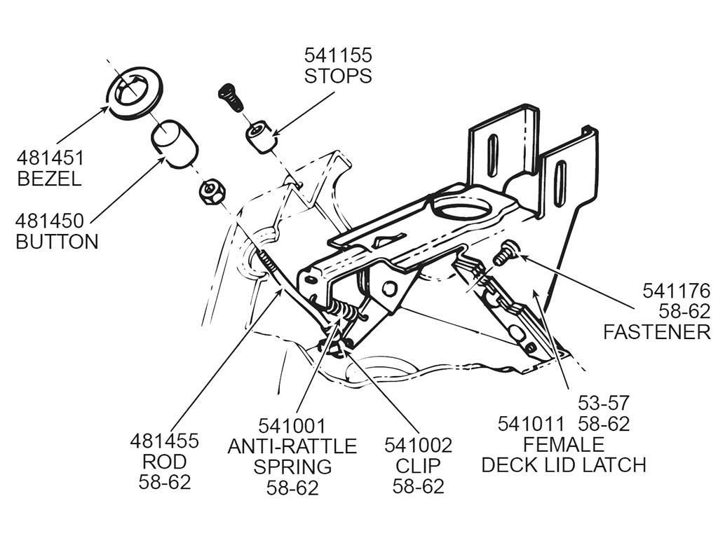 57-62 Deck Lid Push Button - Open