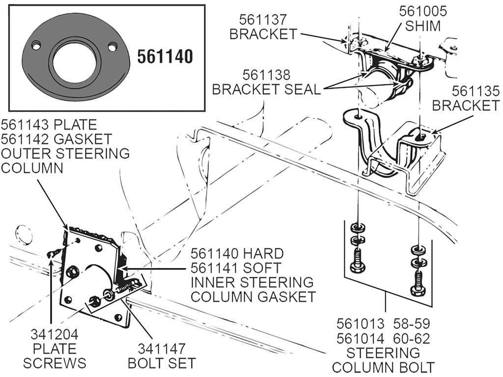 61 62 steering column bracket mount bolt set underdash 6. Black Bedroom Furniture Sets. Home Design Ideas