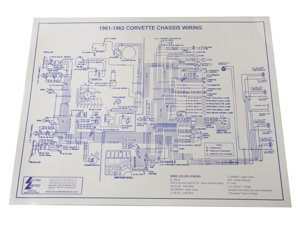 61 Corvette Wiring Diagram Harness Schematics 1954 62 Wire Laminated 17 X 22 Central Rh Corvettecentral Com 74 C3