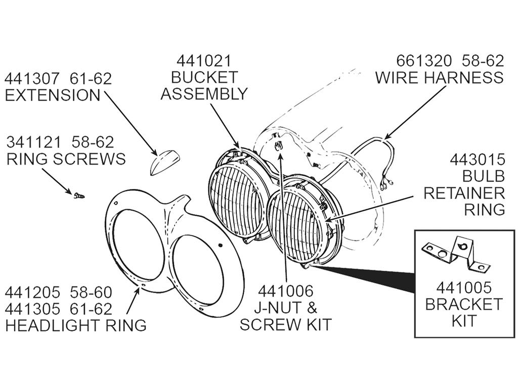 1958 Corvette Wiring Harness Library Dash Diagram 58 62 Headlight Bucket Wire