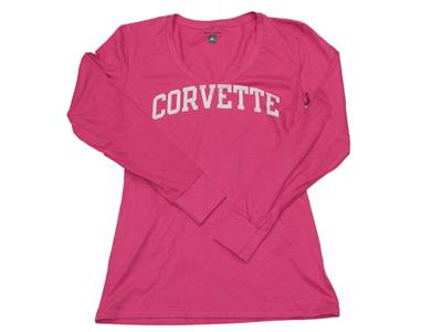 80a33a1b4f8c4 T-Shirt Womens Long Sleeve Pink With Corvette Script  clearance ...