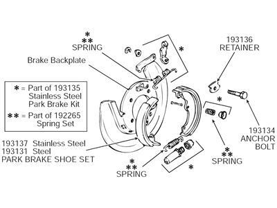 65-82 parking    emergency brake hardware kit