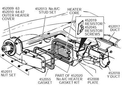 1963-1967 Corvette Heater Core No AC